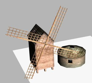 3d model windmill miller house