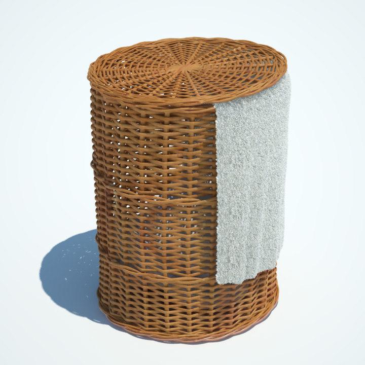 wicker washing basket 3d model