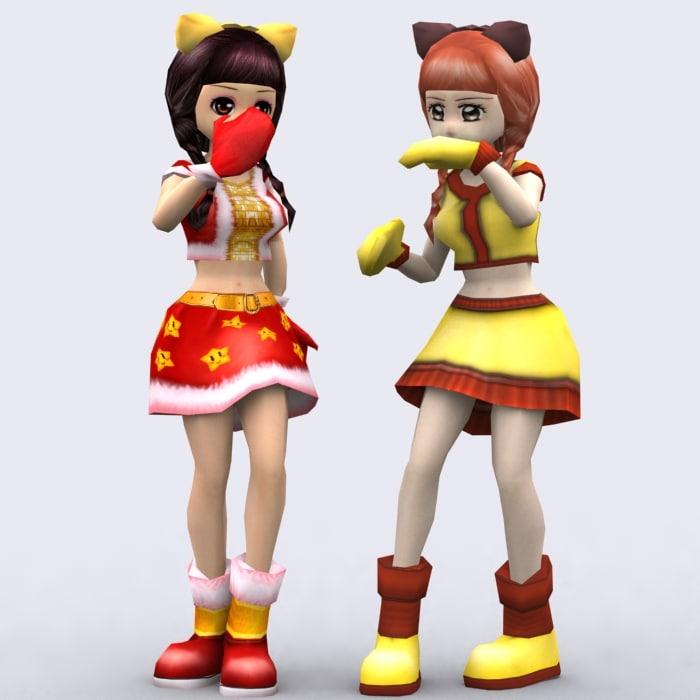 3d model games yoko anime girls