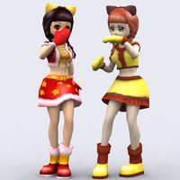 3d model games yoko anime girls