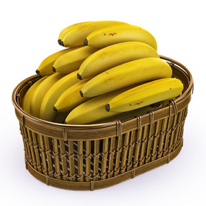 realistic banana basket 3d model