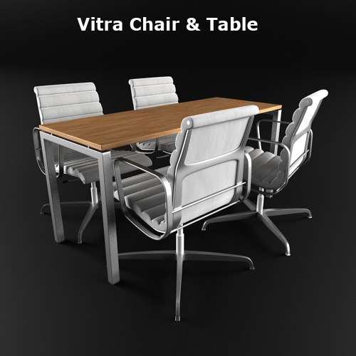 3d vitra chair office table model