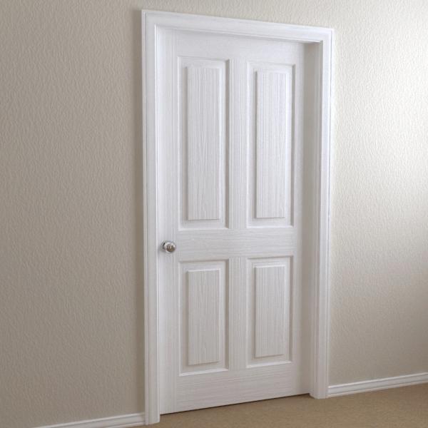interior door - 4-panel 3d model