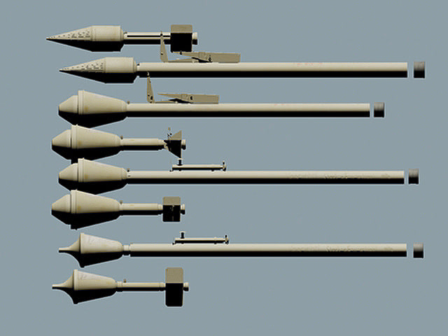 3d model wwii german panzerfaust family