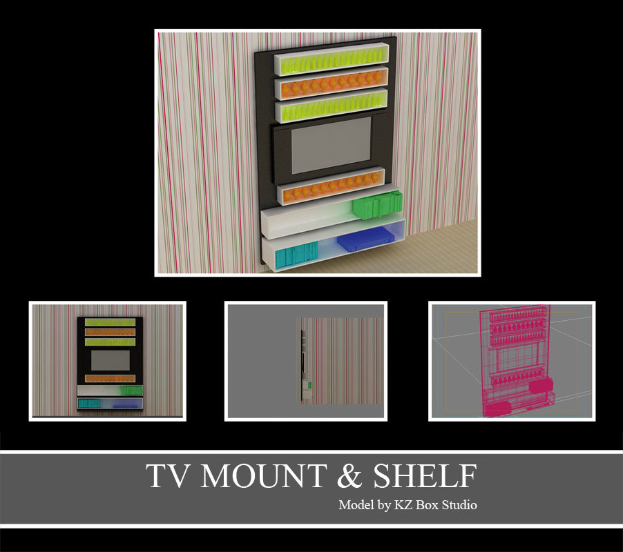 3d model of tv mount shelf