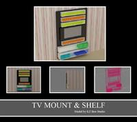 3d model of tv mount shelf