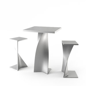 3d set bar chairs table model