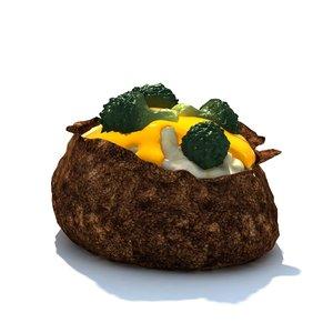 broccoli cheese potato 3d model