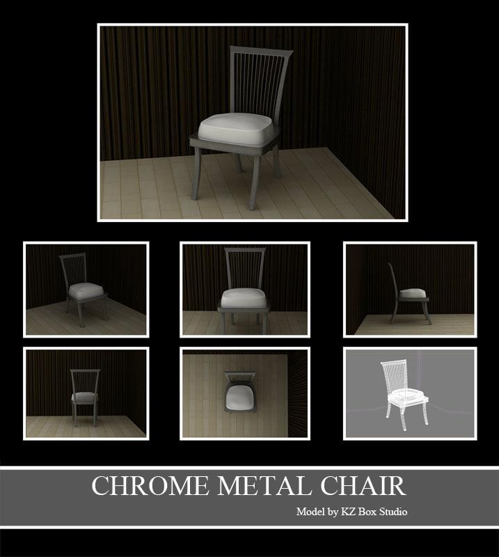 3d chrome metal chair model