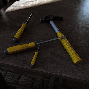 tools screwdrivers hammer 3d model