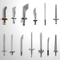 3d model set 13 medieval swords