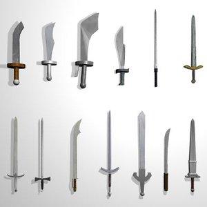 3d model set 13 medieval swords
