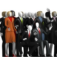 3d business men and women