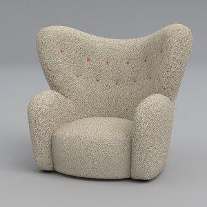 3d model of wings armchair