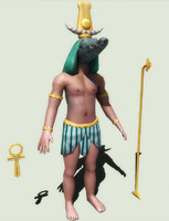 Low poly character of egyptian god Sobek