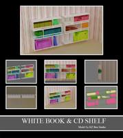white books cds shelf 3d model