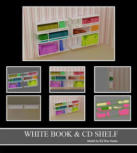 white books cds shelf 3d model