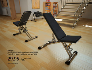 3d inclined bench