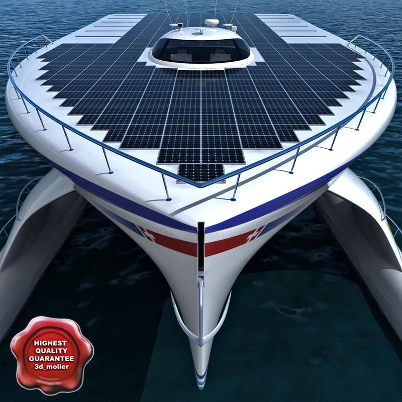 planetsolar solar powered boat 3d model