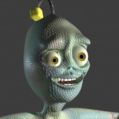3ds alien creature green