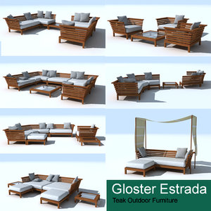 teak gloster estrada lounge chair 3d model