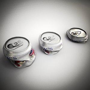 3d crushed beer model