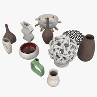 vases bowls statue 3d model
