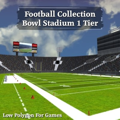 football bowl 1 tier 3d obj