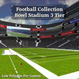 3d football bowl 3 tier