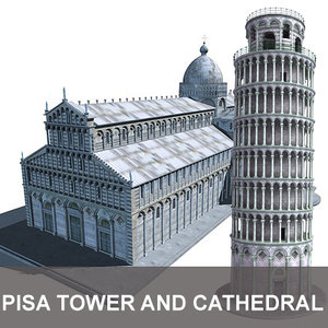 tower cathedral pisa 3d model