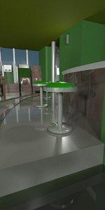 casino bar stools 3d model