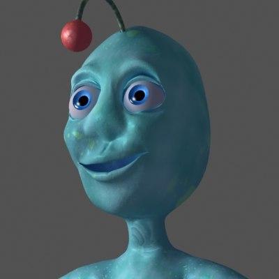 alien creature blue 3d model