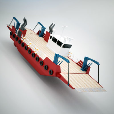 small car ferry 3d model