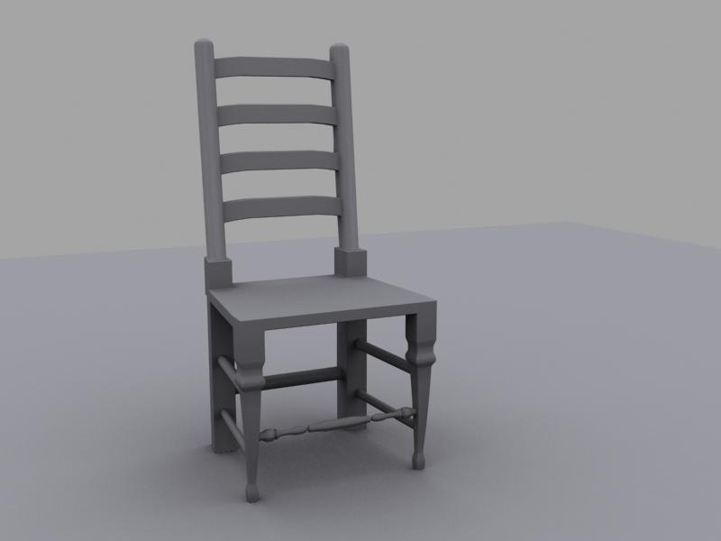 chair wooden untextured 3d model