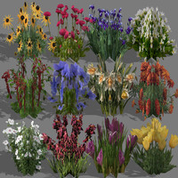 flowers polygons 3d 3ds