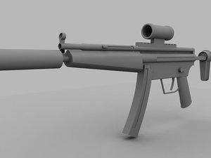 maya mp5 sub-machine gun untextured