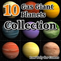 10 gas giants planets 3d model