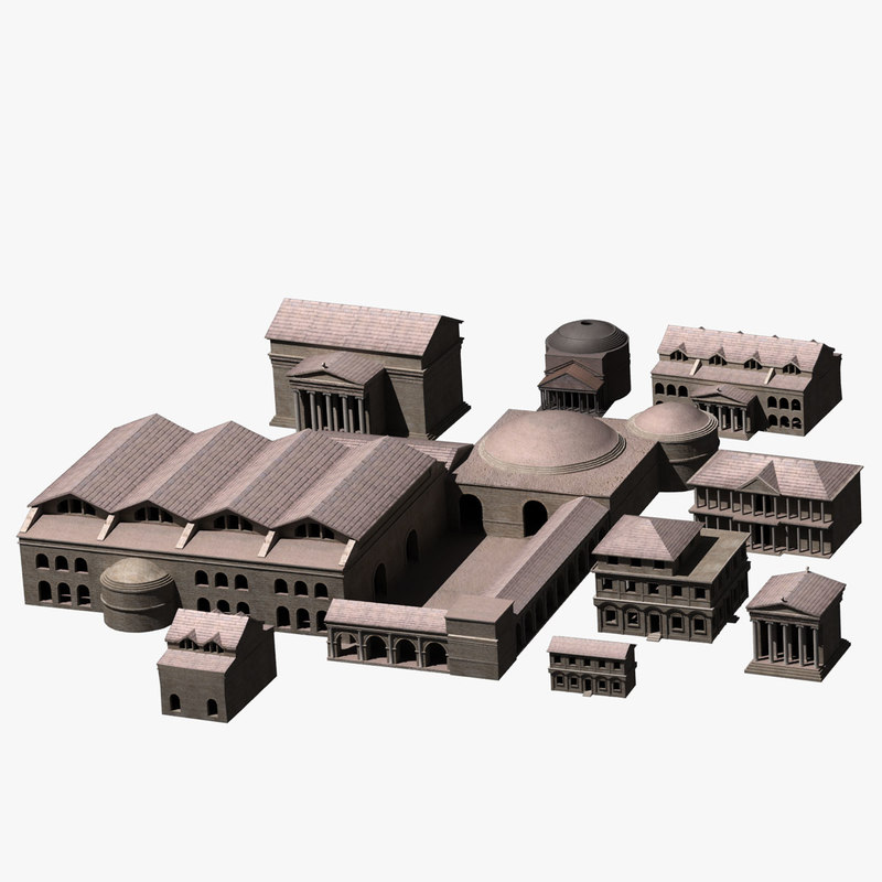 3d ancient roman buildings house