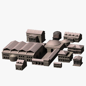 3d ancient roman buildings house