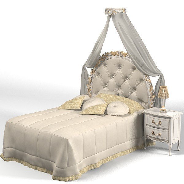 savio firmino classic single bed canopy night stand pillows 1739d 1593 kid child tufted  sc 1 st  TurboSquid & child s canopy bed 3d model
