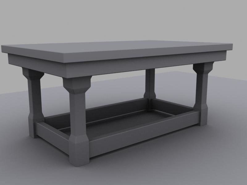 small wooden table untextured 3d model