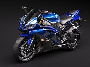 yamaha r6 sport bike 3d model