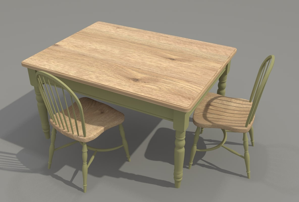 victorian dining table chairs 3d model