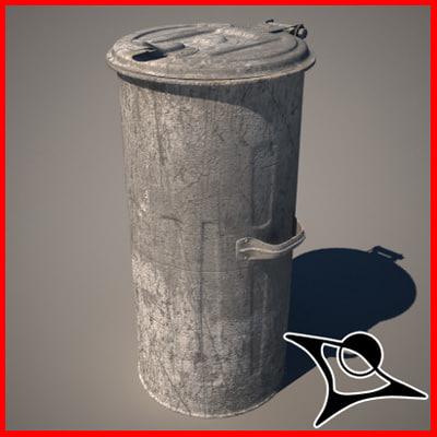 bin dustbin metal 3d model