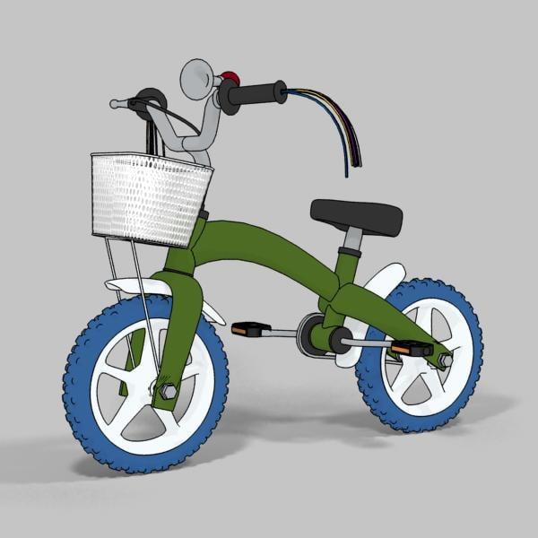 3d model child bike rendered toon