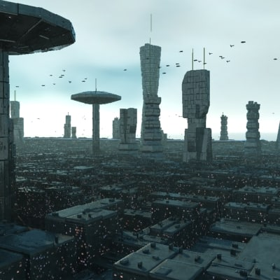 futuristic city animation 3d model