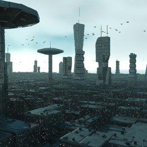 futuristic city animation 3d model