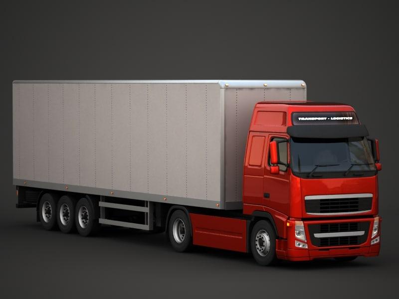 fh semi truck obj