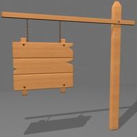 old wood sign 3d model