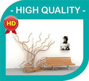 alive tree bench - 3d 3ds
